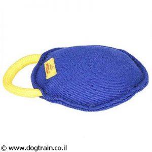פפירול כרית נשיכה עגולה עם ידית לכלב עשויה בד צרפתי חזק