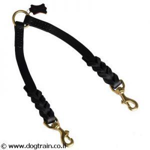רצועת עור קלועה מפוצלת לטיולים עם 2 כלבים