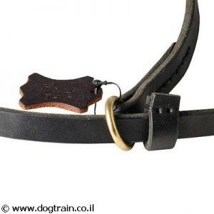 רצועת עור לכלב לתפעול מהיר משולבת עם קולר חנק