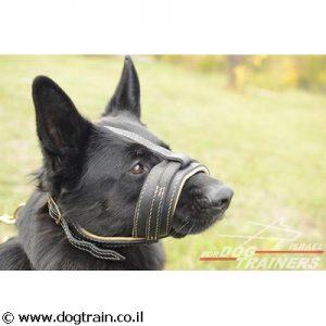 מחסום פה לכלב בסגנון מלכותי בצורת לולאה מרופד בעור נאפה