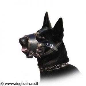 מחסום פה לכלב מלכותי ורך מעור נאפה מתכוונן למניעת נביחות