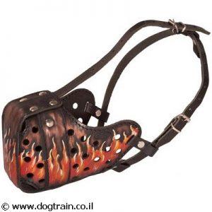 זמם לכלב מעור בצביעה ידנית וייחודית בסגנון להבות אש