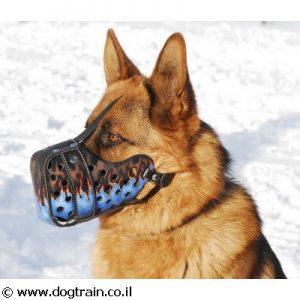 זמם לכלב מעור בצביעה ידנית וייחודית בסגנון להבות כחולות