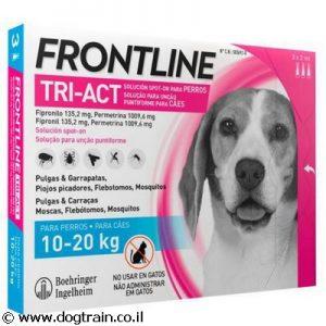 """פרונטליין TRI-ACT טריאקט אמפולות לכלבים בינוניים 10-20 ק""""ג למניעת פרעושים וקרציות"""