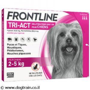 """פרונטליין TRI-ACT טריאקט אמפולות לכלבים קטנים 2-5 ק""""ג למניעת פרעושים וקרציות"""