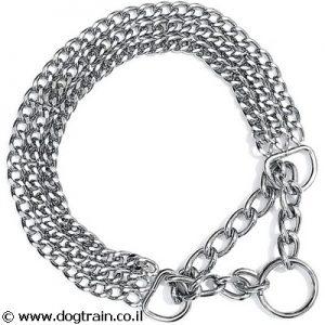 """קולר חצי חנק לכלבים HS גרמניה 3 שורות ממתכת מצופה כרום 2 מ""""מ עובי"""