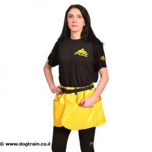 חצאית-פאוץ בצבע צהוב עם כיסים לאילוף כלבים