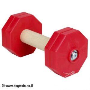 """משקולת עץ לאילוף כלבים עם צלחות משקל אדומות נשלפות – 1 ק""""ג"""