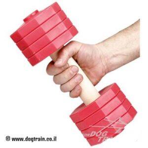 """משקולת עץ לאילוף כלבים עם צלחות משקל אדומות נשלפות – 2 ק""""ג"""
