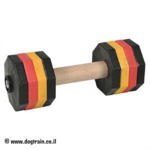 """משקולת עץ לאילוף כלבים עם צלחות משקל צבעוניות נשלפות – 2 ק""""ג"""