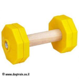 """משקולת עץ לאילוף כלבים עם צלחות משקל צהובות נשלפות – 1 ק""""ג"""
