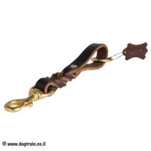 רצועת עור לכלב קלועה וקצרה (רצועת לולאת משיכה)